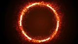 Seamless animation of abstract ring of fire flame fireworks burning. Sparking fire circle pattern or cold fire or fireworks in black background in 4k flame concept.
