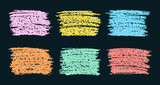 Fototapety Set of colored crayon pastel chalk design elements on black. Hand drawn background. Vector crayon texture.
