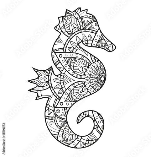 Gamesageddon Vector Illustration Of A Black And White Seahorse