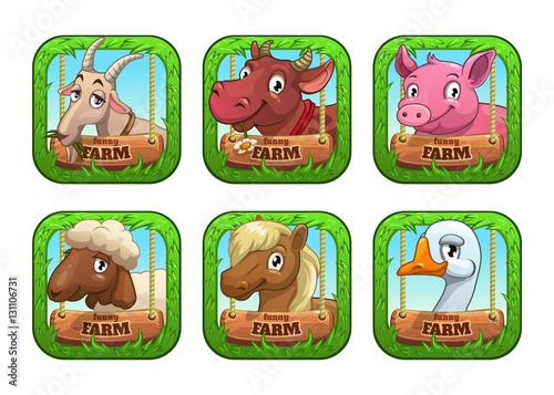 Foto op Canvas Boerderij Funny cartoon farm game logo templates.
