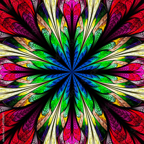 Multicolored flower pattern in stained-glass window style. You c - 131108169