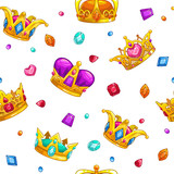 Seamless pattern with cartoon golden king crowns