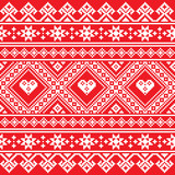 Traditional Ukrainian or Belarusian folk art white embroidery pattern on red - 131114366