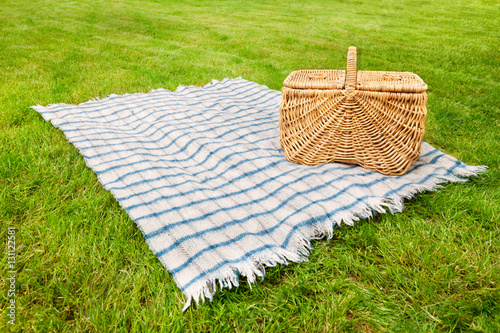 Picnic blanket and basket in the grass Poster