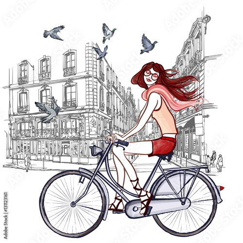 Tuinposter Art Studio woman riding a bicycle in Paris