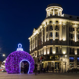 Christmas decorations on Krakowskie Przedmiescie street. Warsaw, Poland