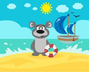 Мишка на пляже.