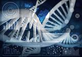 DNA molecules background, 3D rendering - 131144112