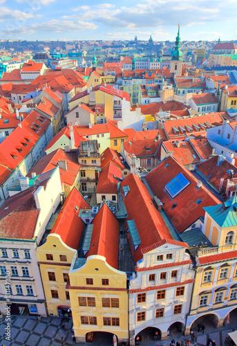 Poster Prague vue de la tour de l'hôtel de ville