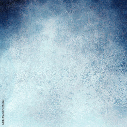 Fototapeta white and blue background design with painted grunge borders in dark cloudy blue sky design on watercolor paper texture