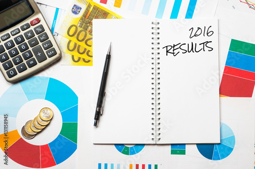 Poster 2016 results title on colorful charts, calculator and euro money