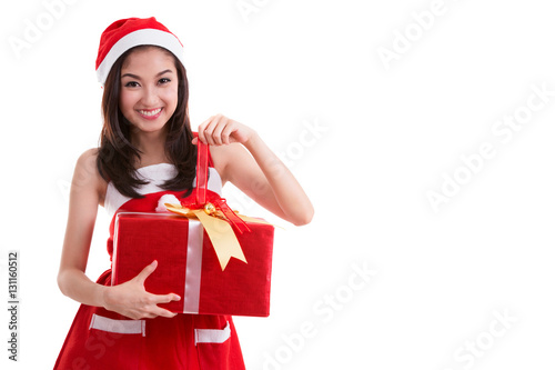Poster Beautiful Asia woman wear Santa Clause costume