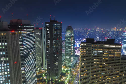 Poster Night view of Tokyo is captured from a tall building in Shinjuku.