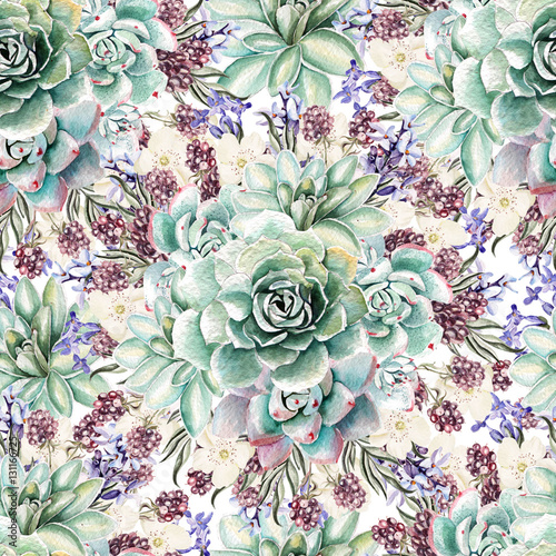 Beautiful watercolor pattern with lavender and succulents. Blackberries. Illustrations. - 131166725