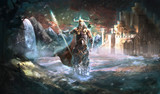 Odin the god of Vikings in front of Valhalla