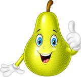Cartoon pear giving thumbs up