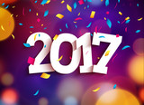 Happy New Year 2017 background decoration. Greeting card design template. Vector illustration of date 2017 year. Celebrate brochure or flyer