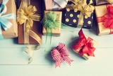 Fototapety Gift boxes on wooden  background