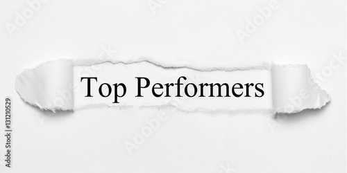 Poster Top Performers on white torn paper