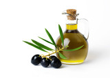 Organic Olive Oil  with bunch of olives