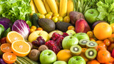 Various Fresh fruits and vegetables for eating healthy