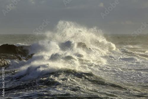 Rocks beaten by the rough sea