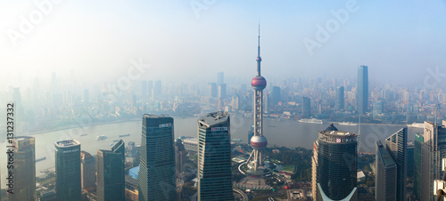 Foto op Canvas Shanghai High Panoramic View of Smog Covering Shangahi, China