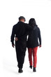 Couple embrace back view with white background