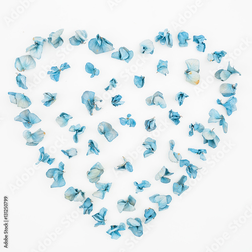 Plexiglas Hydrangea Heart symbol made of flowers on white background, Flat lay, Top view