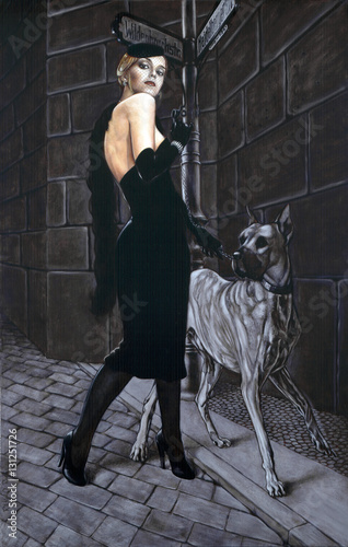 Elegant Woman with Huge Dog - 131251726