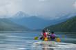 Canoe on Calm Mountain Lake