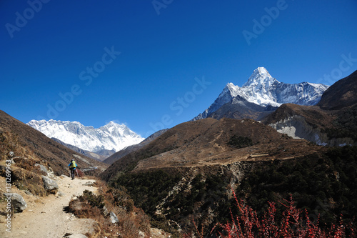 hiker mountain, fun hike in himalaya, nepal Poster