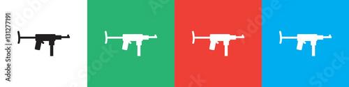 Poster submachine gun icon illustration