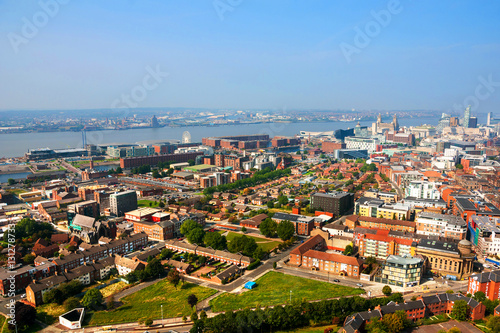Liverpool, UK. Aerial view of downtown Poster