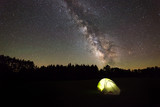 Tent camping under the Milky Way Galaxy