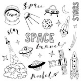 Set of vector elements on the space theme.