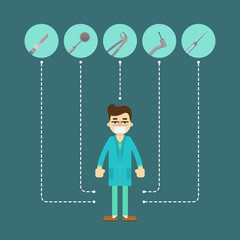 Male dentist in blue medical uniform standing on blue background with round instrument icons. Dentist office flyer. Healthy clean teeth. Dental treatment and hygiene. Tooth care and restoration.