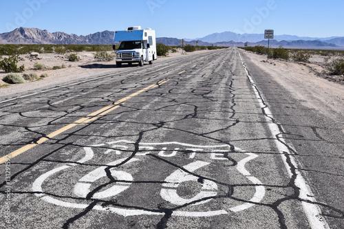 Aluminium Route 66 Small RV or camper on Route 66