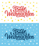 Merry Christmas retro flat greeting cards or flyers set with hand lettering. Xmas greetings text on german language.