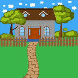 Cartoon house with fence and trees
