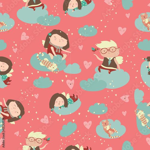 Cotton fabric Seamless pattern with cute angels celebrating Valentines Day