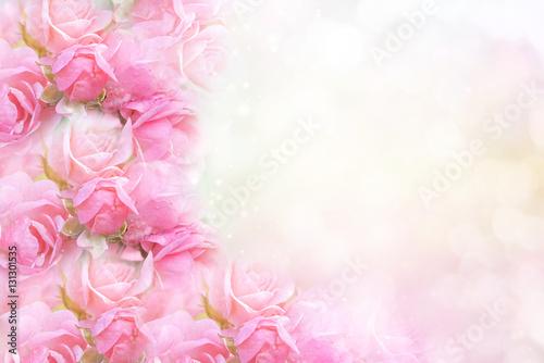 pink rose flower on soft bokeh vintage background for valentine or wedding