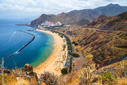 Deurstickers Canarische Eilanden Aerial view on Teresitas beach near Santa Cruz,Tenerife, Canary islands, Spain