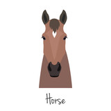 Vector brown horse head isolated. Flat, cartoon style object