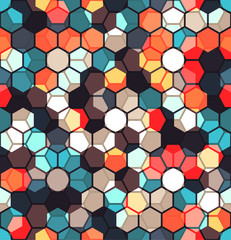 Modern Seamless pattern of Hexagons multicolor abstract geometric background. Vector illustration.