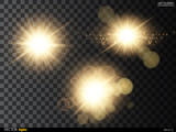Fototapety Golden glitter bokeh lights and sparkles. Shining star, sun particles  sparks with lens flare effect on transparent background