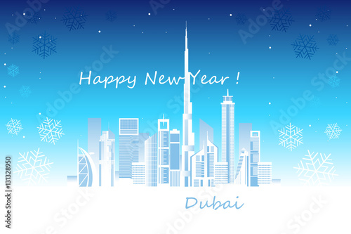Poster Happy New Year in Dubai city