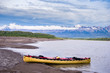 Canoeing Liard river downstream of Nahanni Butte village