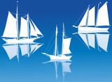 three ship silhouettes with reflections on blue