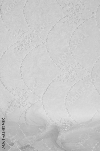 Tuinposter Stof Tulle, organza, white, with a pattern of flowers
